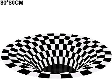Area Rug Velvet, Printed Carpet Not-Slip Rectangle Floor Mat 3D Visual Bottomless Illusion Shaggy Rug Door Mat Bath Rug for Lvining Bedroom Decoration-Round (Five Size Option)