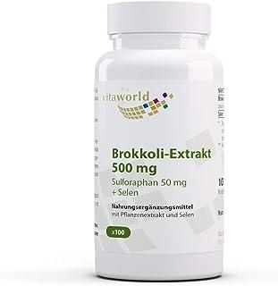 Extracto de brócoli Vita World 500 mg de brócoli germinado 100 cápsulas - dosis alta con 50 mg de sulforafano por cápsula - vegano y sin aditivos - producción farmacéutica alemana
