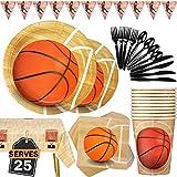 Basketball Fournitures de Fête 177PCS Anniversaire d'enfants Vaisselle Jetable Set Thème du Sport, Assiettes, Tasses, Serviettes, Cuillères, Fourchettes, Couteaux, Nappe, Bannière, pour 25 Personnes