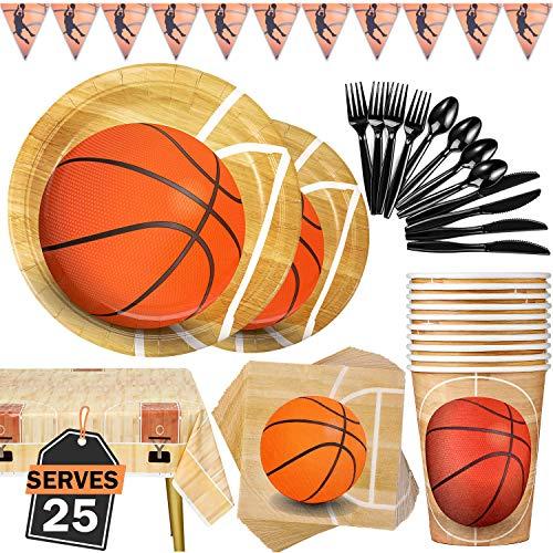 Duocute Basketball Party Supplies 177PCS Sportthema Kindergeburtstag Einweggeschirr Set Enthält Teller, Tassen, Servietten, Löffel, Gabeln, Messer, Tischdecke und Banner, Für 25 Personen
