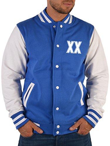 SH-Topshop - Stefan Hohenwarter Herren College Jacke in royal-blau mit zweistelligem Wunschjahr als Frontaufdruck -Bequeme Herrenjacke- Tolles Geschenk
