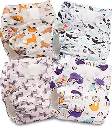 Littles and Bloomz FLV2-0401 - Pañal de tela reutilizable para bebé, 4 pañales