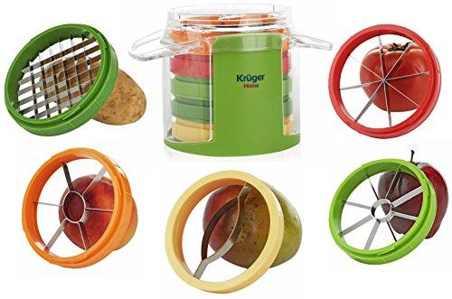Apple Corer Slicer Wedger - 5 in 1 Vegetable and Fruit Cutter, 5 Stainless Steel Blades, Mango Slicer, Tomato Slicer, Potato French Fry Slicer, Apple Corer, Peach Corer, by Kruger Home