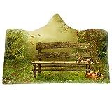 Comfy 3D Print Fantasy Vert Paysage Motif Couverture À Capuche Couverture De Flanelle Garçon Jeter Cape Peignoir Confortable, pour Couch Daybeds Camping Lits Couverture Pépinière,P,Adults