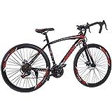 Cacoffay 700C Montaña Bicicleta 21 Velocidad Montaña Bicicletas con Desct Frenos Aluminio - Completo Suspensión Montaña Bicicletas para Hombres Mujer
