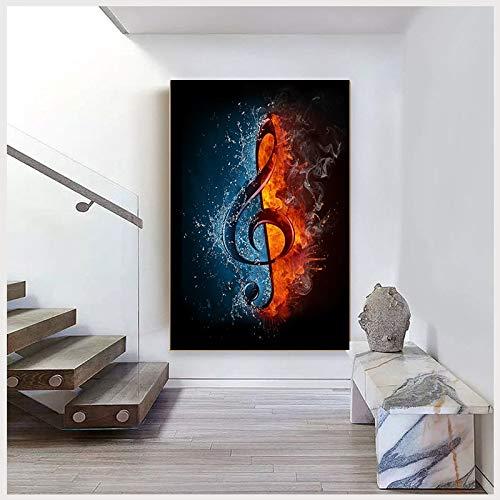 Geiqianjiumai Moderne EIS- und Feuernotizkunst-Ölgemälde-Hauptdekorationswand abstrakte Kunstmalerei rahmenloses Gemälde 30x40cm