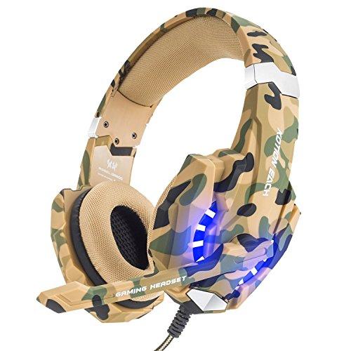 VersionTECH. Auriculares Gaming Estéreo Con Micrófono Gaming Headset Profesional Bass Over-Ear Con 3.5mm Jack, PS5, Luz LED,Bajo Ruido Compatible Para PC (Camuflaje)