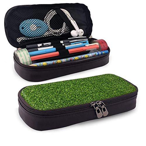 Estuche para lápices de cuero de césped verde que atrae la vista saludable con portalápices, papelería de gran capacidad, bolsa de cosméticos