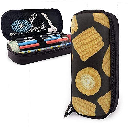 Corn Pattern Pencil Case Pen Case Pouch Briefpapier Organizer Cosmetische Make-up tas Double Zipper Leer