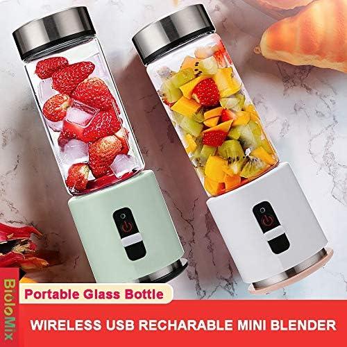 AiJia Blender portátil Recargable de 4000mAh batería de 380 ml Personal Cristal Smoothie Batidora Exprimidor de Frutas Copa de Viajes Mezclador USB exprimidor (Color : Gree) White