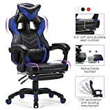 Kealive Gaming Chair Reclining Racing Chair with Footrest, Ergonomic Office Chair with Headrest and Lumbar Support, Adjustable Swivel Computer Chair with High Back and PU Leather