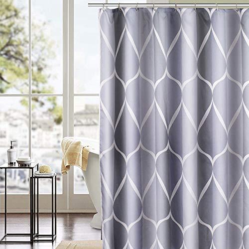 trounistro Duschvorhäng, Duschvorhang Anti-Schimmel Duschvorhang aus Polyester Wasserabweisend Shower Curtain Anti-Bakteriell mit 12 Duschvorhangringen (weiß grau, 200 * 200)