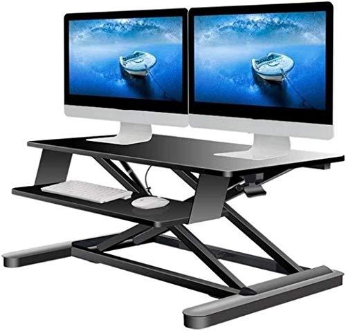 PULLEY-S Bastidor de elevación pequeños escritorios de ordenador portátil - Altura ajustable Soportes de mesa Informática 2 estaciones de trabajo Monitor de la estación de convertidor de ordenador (35