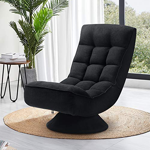 Saemoza Folding Floor Gaming Chair,360 Degree Swivel Video Game Chair with 5 Positions Adjustable, Soft Lazy Sofa for Reading Relax at Home(Black)