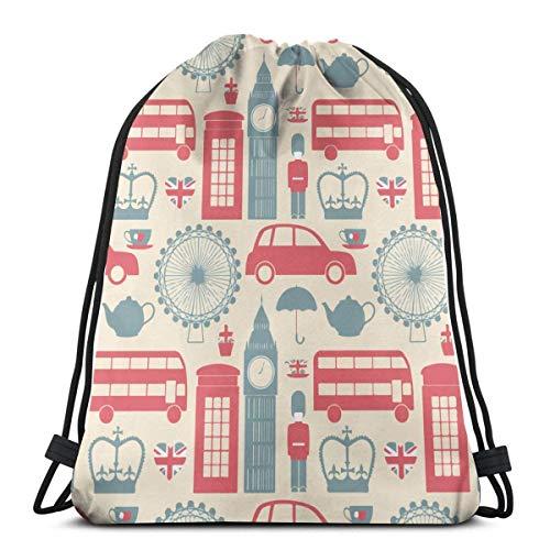jingqi Travel Sackpack,Gym Bags,Sport Cinch Pack,Bolsos De Gimnasio,Mochila con Cordón,Símbolos De Londres De La Cultura Británica