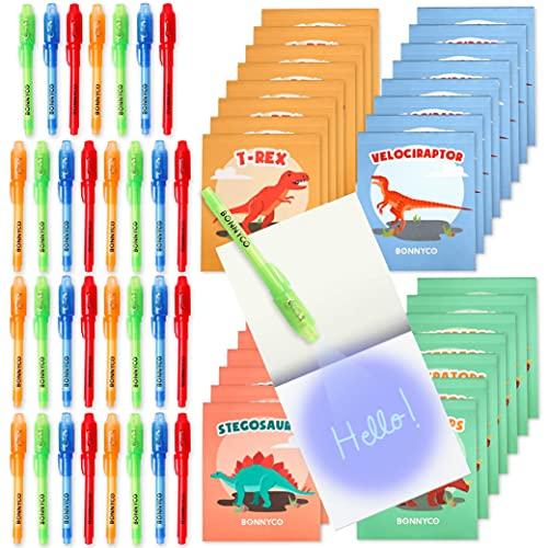 BONNYCO Bolígrafo Tinta Invisible y Libreta Dinosaurios Pack x32 Detalles Cumpleaños Niños, Regalos Cumpleaños Niños Colegio, Piñatas de Cumpleaños | Regalos Fiesta Cumpleaños Infantil