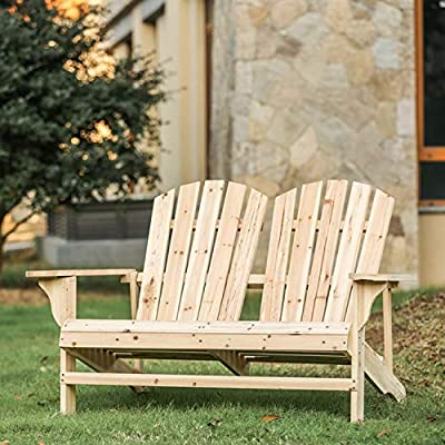 Festival Depot Outdoor Patio Furniture Wood Loveseat Adirondack Arm Chair Double Seating for Lawn, Beach, Deck, Backyard, Garden, Porch, Poolside, Wooden