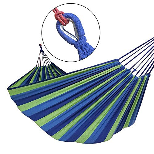 GOCAN Brazilian Double Hammock 2 Person Extra Large Canvas Cotton Hammock for Patio Porch Garden Backyard Lounging Outdoor and Indoor Blue Green Stripe