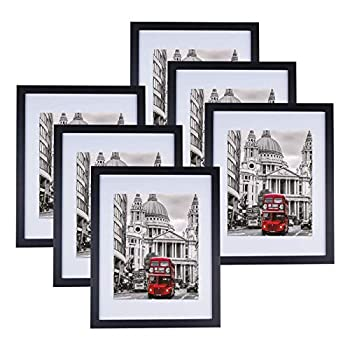 11x14 Picture Frame Set of 6 Display 8x10 Pictures with Mat or 11x14 without Mat for Tabletop Display and Wall Hanging Classic Simple Photo Frames for Wall Gallery Home Office Decor Black