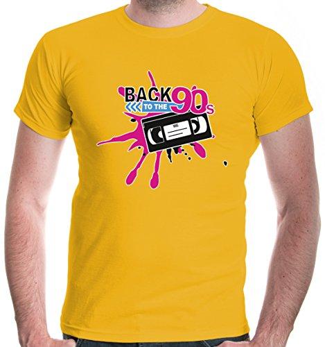 buXsbaum Herren T-Shirt Back to 90s | 90er Oldschool Party | L, Gelb