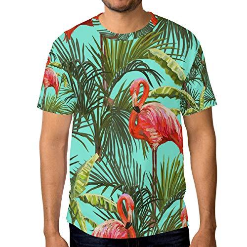 Camiseta para Hombre Niños Selva Animal Pájaro Flamencos Árbol Hoja Manga Corta Personalizada