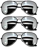 3 Pack of Aviator Sunglasses Black Frame Mirror Lens with Pouches