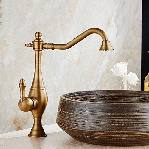 GZ-Faucet Cuivre Antique européenne Robinet au-Dessus du Bassin de l'art du Bassin de comptoir rehausser Le Bassin de Lavage Bassin d'eau Chaude et Froide Noir Noir Bronze