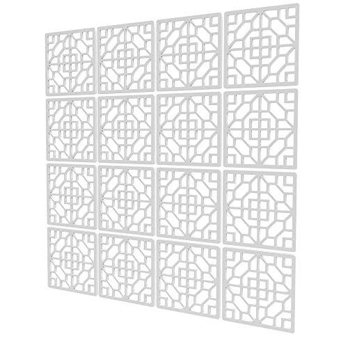 Biombos para Separar Espacios de 16 Piezas - 117.5x117.5cm - Blanco Panel Divisor Ambientes Cuadrado Geométrico Separador Ambientes Moderno para Estantes Y Escritorios