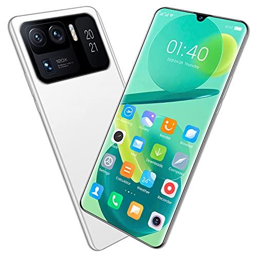 LINGZE Smartphone 4G, teléfono Android 11 con Doble SIM, teléfono móvil Desbloqueado, batería de 7200 mAh, Pantalla Completa de 7,0 Pulgadas, cámara Triple de 13 MP, identificación Facial (Blanco)
