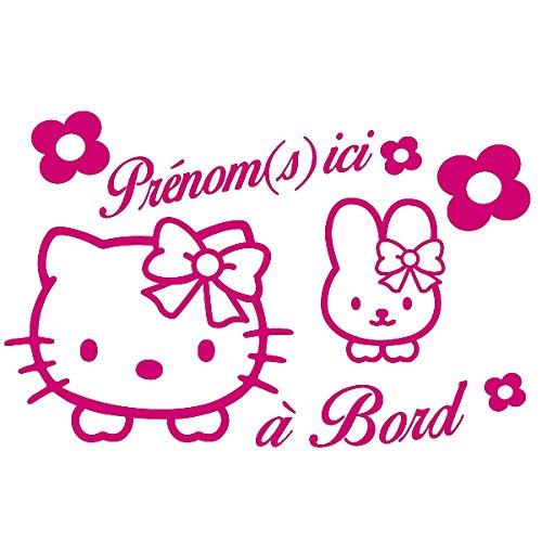 Sticker Bébé à Bord Personnalisable Hello Kitty Fuschia 30x20 cm