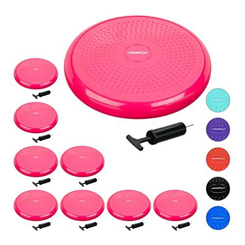 Relaxdays 9 x Balance Kissen, 140 kg Maximalgewicht, Balance Pad mit Luftpumpe, Ballsitzkissen mit Noppen, Fitness Kissen, pink