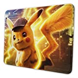 Big Detective Pikachu Gaming Mouse Pad Non-Slip Rubber Stitched Edges Mousepad 11.81 X 9.84 X 0.12 inches Rectangle Mouse Mat Smooth Surface Mouse Pads