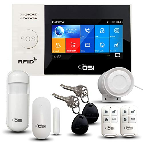 【OSI WIRELESS WIFI SMART HOME SECURITY DIY ALARM SYSTEM】DIY Home Wi-Fi 9-piece Alarm Kit with Motion detector, Notifications,door/window sensors and siren,Google & Alexa, smartphone app,NO Monthly Fee