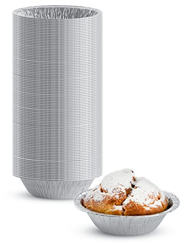 """Pack of 100 Disposable Silver Aluminum Mini Tart Pan – Approved – Durable and Moisture Resistant Pie Pin Tray - Full Curl Rim Design - 3"""" Inch Top circle,"""