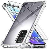 Ferilinso Funda para Xiaomi Mi 10T 5G / 10T Pro 5G + 2 Piezas Cristal Templado Protector de Pantalla [Transparente TPU Carcasa] [10X Anti-Amarilleo] [Anti-Choque] [Anti-arañazos] [9H Dureza]