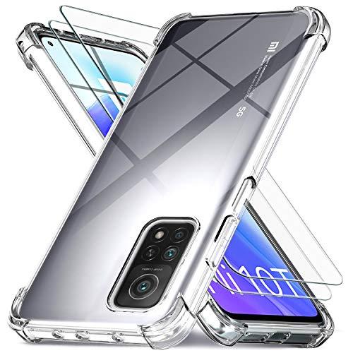 Ferilinso für Xiaomi Mi 10T 5G / 10T Pro 5G Hülle + 2 Stück Panzerglas Schutzfolie [Transparent Silikon Handy Hüllen] [Stoßfest Kratzfest ] [Shock Absorption Schutzhülle]