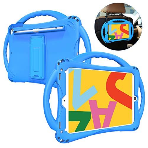 Adocham Kids case for iPad 7th Gen 10.2 (2019)/ iPad Air 3rd Gen 10.5 (2019)/ iPad Pro 10.5(2017), Premium Food-Grade Silicone Lightweight Shock Proof Handle Stand Kids Friendly Cover (Blue)