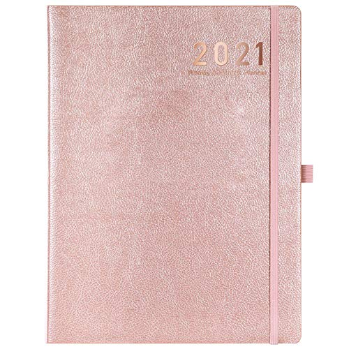 "2021 Planner - Weekly/Monthly Planner, 8"" x 11"", Soft Leather Cover with Thick Paper, Back Pocket with Notes Pages - Rose Gold"