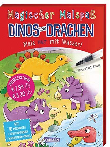 Magischer Malspaß: Dinos und Drachen: Male nur mit Wasser! Set mit Anleitungsheft, Wassertank-Pinsel und 10 Zauberkarten