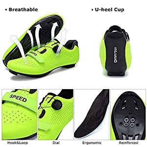 SWISSWELL Men's Road Cycling Shoes Compatible Mountain Bike with SPD/SPD-SL & Fast Rotating Buckle (White,9 Women/7 Men)