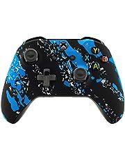 eXtremeRate ansiktsplatta, mjukt skyddande skal för framsida, bekvämt mjukt grepp ersättningskit för Microsoft Xbox One X & One S Controller, Blue Coating Splash