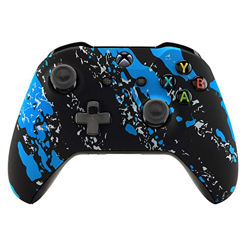 eXtremeRate Blue Coating Splash Patterned Front Housing Shell Case, Soft Touch Grip Faceplate Cover Replacement Kit for Xbox One S & One X Controller (Model 1708) - Controller NOT Included