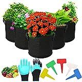 Gohytal 5 bolsas de plantación de 30 L, bolsa transpirable de tela no tejida, reutilizable, con asas, para frutas, verduras, flores, plantas, etc. en el jardín, el balcón