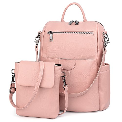 UTO Damen Rucksack Geldbörse PU gewaschen Leder Damen Rucksack abnehmbare Crossbody Umhängetasche Pink