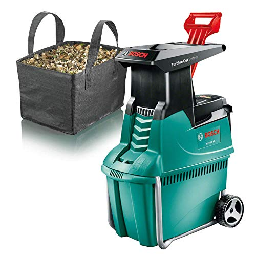 Bosch Häcksler AXT 25 TC (2500 W, Fangbox 53 Liter, Schneidekapazität: Ø 45 mm, im Karton) + Fangsack/Abdeckhaube für alle AXT