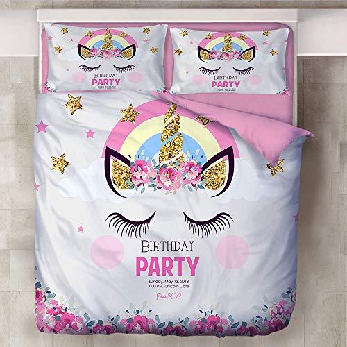 Set di biancheria da letto con copripiumino, stampa unicorno, morbido, in cotone rosa e blu, per bambine e ragazze