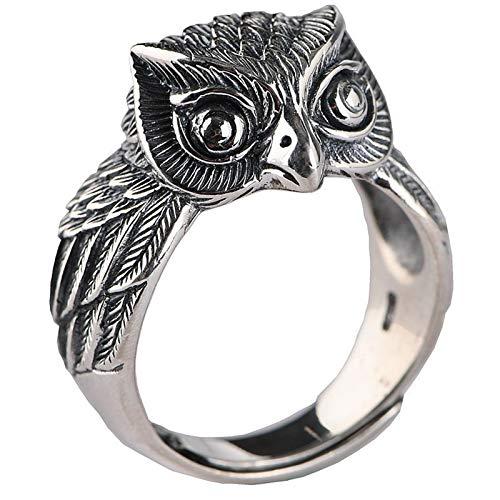 XIAOLIAN Ring S925 Silver Vintage Craft Thai Silver Opening Men's Owl