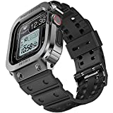 amBand Bands Case Compatible with Apple Watch 44mm, Moving Fortress Rugged Stainless Steel Bumper Men ShockProof TPU Military Strap Protective Cover Compatible for iWatch 44 mm Series SE/6/5/4 Black