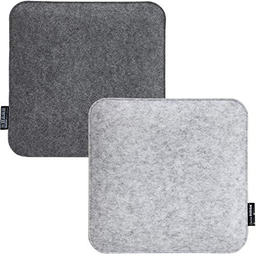 DuneDesign 2 Filz Sitzkissen Eckig 35x35x30cm Stuhlkissen Set Sitzauflage Weich 2-farbig Grau