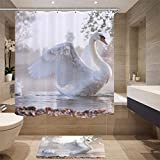 nobrand Hochwertige Möbelzubehör Digitaldruck Simulation Tiermuster Duschvorhang Schwan Stoff Duschvorhang 180X180Cm Blau